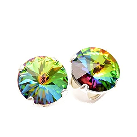 Sterling Silver stud earrings expertly made with Enchanted Forest crystal from SWAROVSKI® for Women
