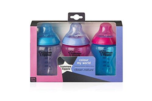 Closer To Nature Colour My World - Pack de 3 biberones decorados para niña, 260 ml