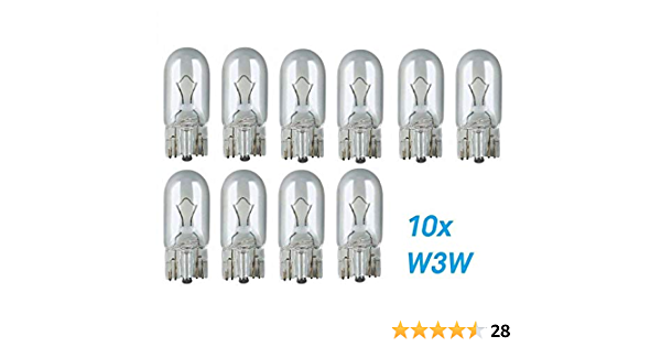 10x Stück W3w T10 12v 3w W2 1x9 5d Kfz Beleuchtung Longlife Glühlampe Glassockellampe Glühbirne Soffitte Autolampen Werkstattware Auto