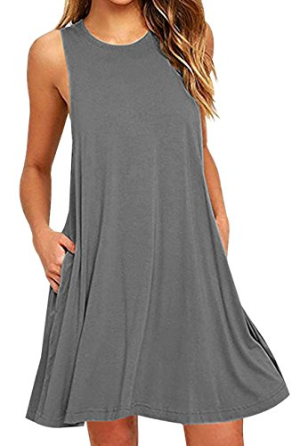 OMZIN Damen Ärmellos Taschen Casual Lose Tunika T Shirt Party Kleid Grau L (Kleid Plus-t-shirt)