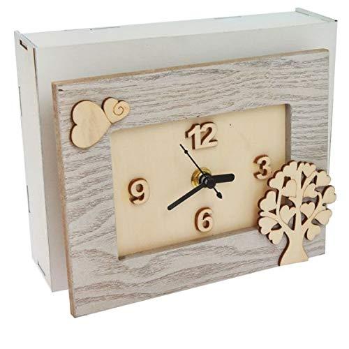 3 pezzi orologio legno albero della vita bomboniera scatola regalo legno
