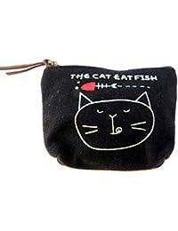 Zakka estilo pequeño lienzo bolsa de la cremallera / la moneda del monedero - Gato Negro