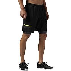 Reebok OSR 2-1 Short - Shorts pour homme, Noir, Taille XL