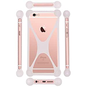 Casotec Universal Silicone Bumper Frame Soft Gel Phone Case Cover for Alcatel OneTouch Pop Star - White