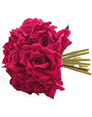 Fourwalls Artificial Polyester and Plastic Rose Flower Bouquet