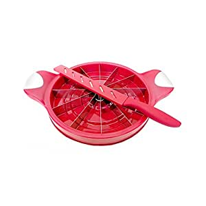 Large Melon Slicer Everday Gourmet Kitchen Gadgets Watermelon Honeydew Pineapple Cantaloupe (Red)