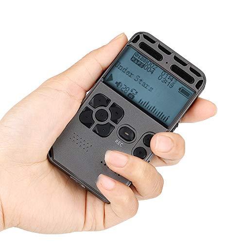 Digitaler Voice-Recorder, Diktiergerät, WULAU HD-Stereo-Digital-Voice-Recorder für Meetings/Vorträge/Interviews, Kennwortschutz/VOR-Voice-Activated-Recorder - Dark Grey 8GB