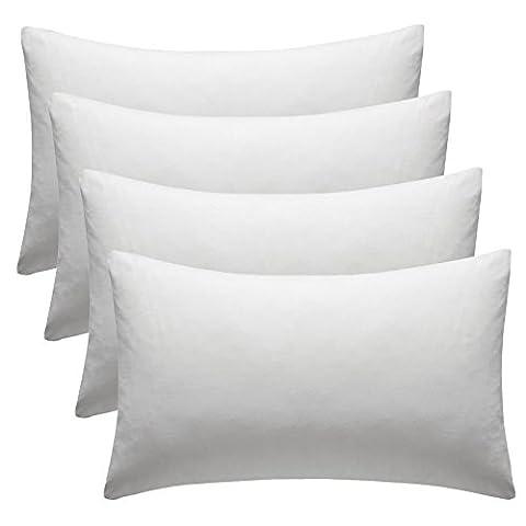 Lot de 4Taie d'oreiller Taie d'oreiller taies d'oreiller de qualité hôtelière 100% coton égyptien, blanc–Bon Marché