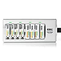 EBL Batteries with Charger, 808 AA AAA Battery Charger with 2800mAh AA Rechargeable Batteries (4 Pack) and 1100mAh AAA…