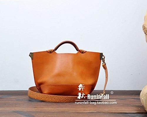 Mobile simple bandoulière en cuir original vintage tote bag Light brown