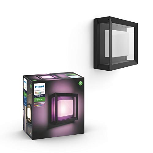 Philips Hue White and Colour Ambiance LED Econic Black Wall Lantern Square, Compatible with Alexa