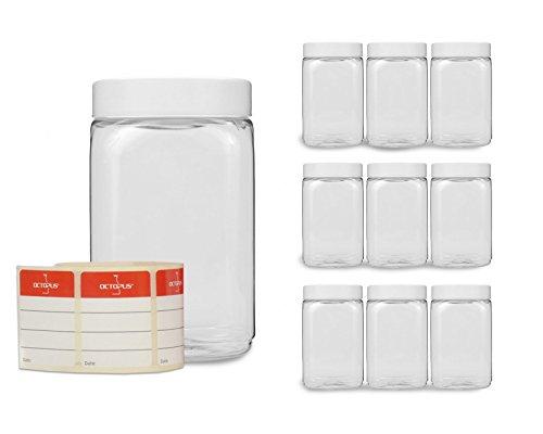 PET Becher mit Schraubdeckel für Lebensmittel, Farben, Öle, Pulver, Plastikbecher mit Schraubverschluss, Kunststoffbecher mit Deckel, Smoothiebecher ()