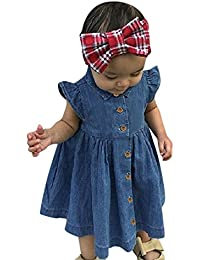 MISSWongg Baby Girls Clothing,Toddler Infant Denim Dress Solid Color Princess Dresses Round Neck Button Dress Casual Short-Sleeved Outfits Clothes