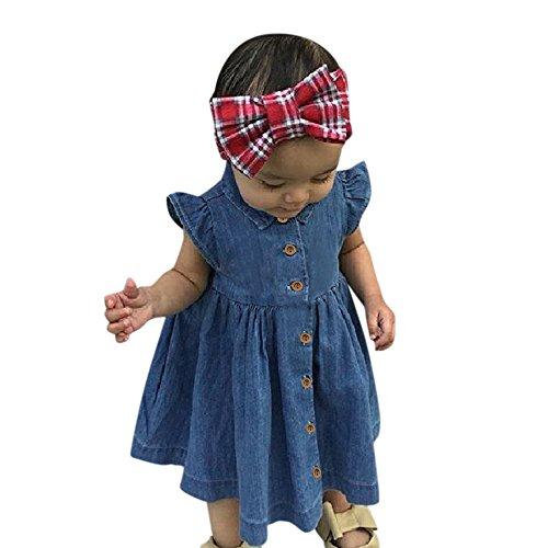 (SANFASHION Kleinkind Baby Mädchen Kleid Feste Prinzessin Denim Kleider Outfit Kleidung Party Urlaub Sommerkleid)