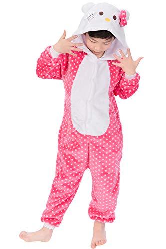 Dolamen Kinder Unisex Jumpsuits, Kostüm Tier Onesie Nachthemd Schlafanzug Kapuzenpullover Nachtwäsche Cosplay Kigurum Fastnachtskostuem Weihnachten Halloween (Höhe 110-120CM (435