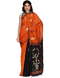 The Weave Traveller Women Pure Handloom Silk Cotton Jamdani Saree With Attached Blouse (Multicolor)