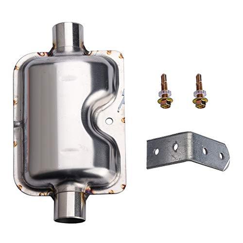 QHJ 12V / 24V 22 / 24mm Abgasanlage Heizung Schalldämpfer Schalldämpferrohr Auspuffrohr (Silber)