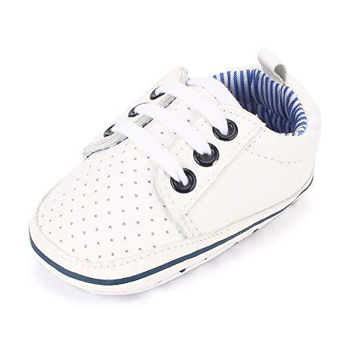 Estamico, scarpe da tennis da neonato, con suola morbida, colore bianco