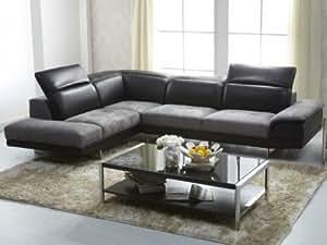 Canapé d'angle bimatière cuir et microfibre ECLIPSE - Noir et gris - Angle gauche