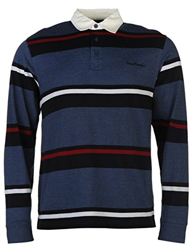 mens-casual-top-long-sleeve-rugby-polo-shirt-large-denim-m-navy