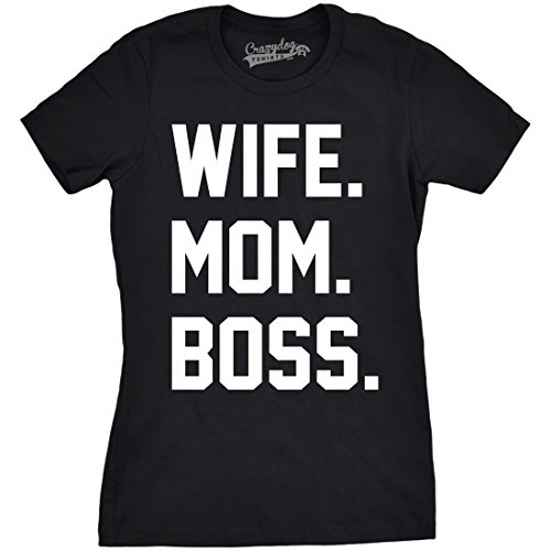 Crazy Dog Tshirts Womens Wife Mom Boss Funny T Shirt I Am The Boss Tee For Ladies Shirts For Mom (Black) -S - Damen - S (Entzückendes Shirt)