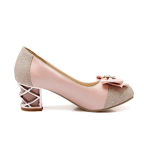 VogueZone009 Femme Tire Rond à Talon Correct Matière Mélangee Mosaïque Chaussures Légeres Rose