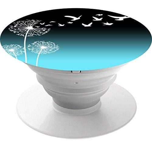 Multifunktions-Pop-Out-Phone Grip und Ständer, Sockel Mobile Halter für Ihr Handy & Tablet - Löwenzahn blasen in Vögel schwarz teal (Iphone 4 Fälle, Teal)