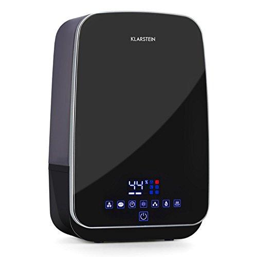 Klarstein Nibelheim • Humidificador • Vaporizador • Ionizador • Tecnología ultrasónica • Depósito de 5,6 L • 400 ML/h • Ambientador • Lámpara UV • Mando a Distancia • Negro