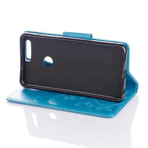 Cover Protettiva Huawei Honor 8, Alfort 2 in 1 Custodia in Pelle Verniciata Goffrata Farfalle e Fiori Alta qualità Cuoio Flip Stand Case per la Custodia Huawei Honor 8 Ci sono Funzioni di Supporto e P Blu