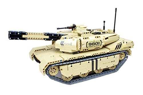 XciteRC 85000030 Teknotoys Active Bricks RC Panzer mit Schußfunktion-Konstruktionsbaukasten mit Fernsteuerung, Grau