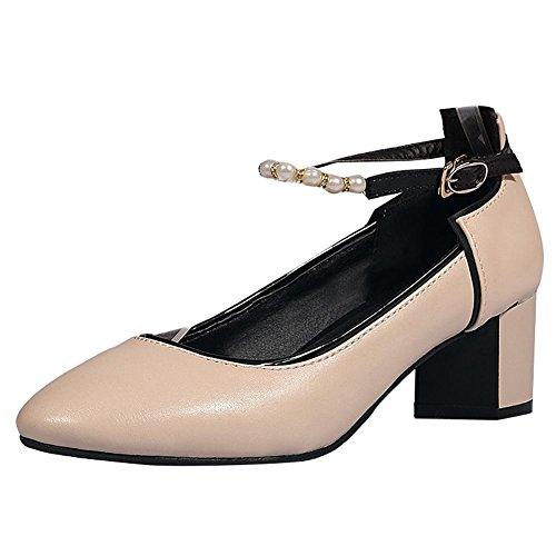 Mee Shoes Damen chunky heels ankle strap runde Pumps Aprikose