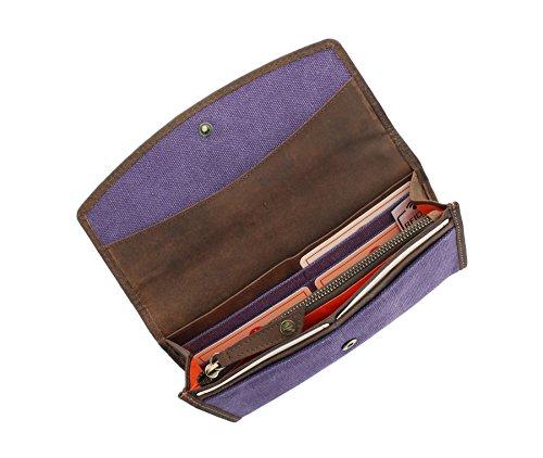 Borsa CACTUS tela con finiture in pelle e RFID Protezione 3319_81 Viola Purple