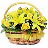 Florazone Morning Basket Arrangement of Yellow Lilies and Roses