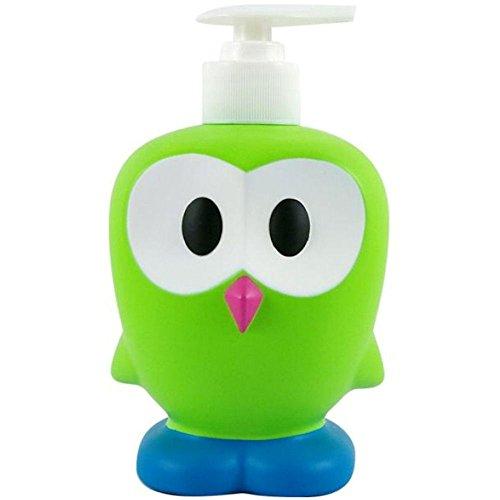 Ooky - Dispenser di sapone liquido, motivo gufetto, in plastica verde