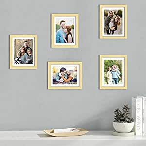 Art Street Set of 5 Beige Wall Photo Frame, Picture Frame for Home Decor with Free Hanging Accessories (Size -8x10 Inchs)