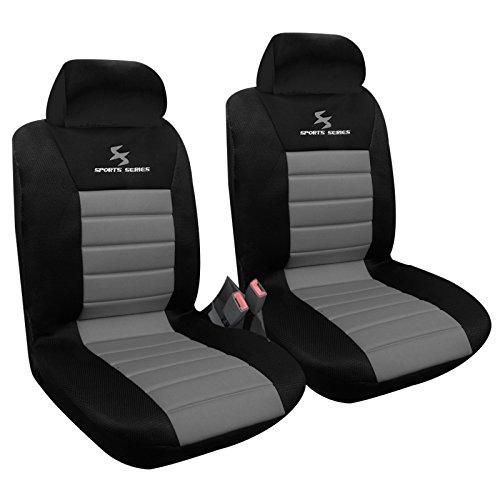 WOLTU AS7255-2 Housse de siège voiture universelle Auto housse Polyester housses pour siège,couvre siège Noir Gris