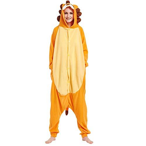 LPATTERN Erwachsene Damen/Herren Cartoon Kostüm- Jumpsuit Overall Schlafanzug Pyjamas Einteiler, Orange und Gelb Löwe, S für Körpergröße 150-158CM