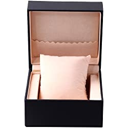 Luxury Black PU Leather Elegant Solid Black Watch Jewelry Box Case With Pillow WTL054