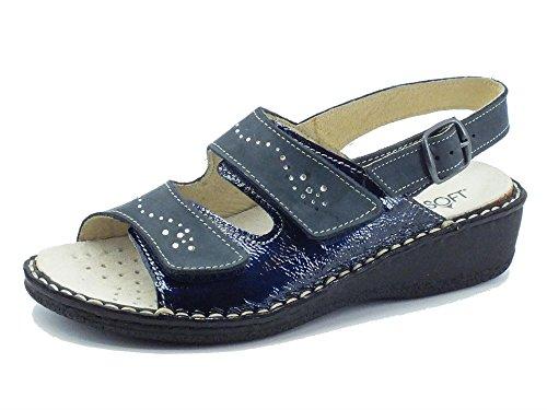 Sandali Cinzia Soft per donna in nabuk e vernice blu doppio velcro (Taglia 39)