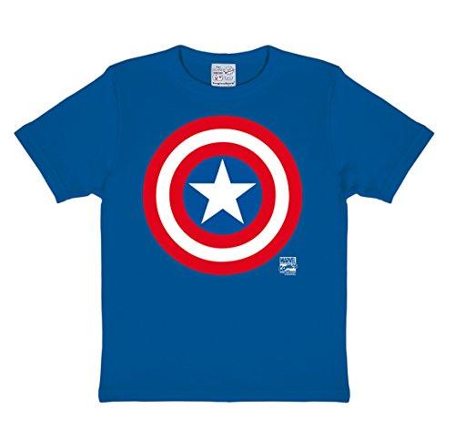 Logoshirt Marvel Comics - Superheld - Captain America Logo T-Shirt Kinder Jungen - Blau - Lizenziertes Originaldesign, Größe 170/176, 15-16 Jahre