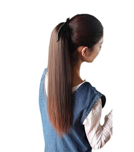 Dunkelbraune lange Gerade Ponytai Perücke für Frauen, 55cm (Kaufen Perücken Pferdeschwanz)