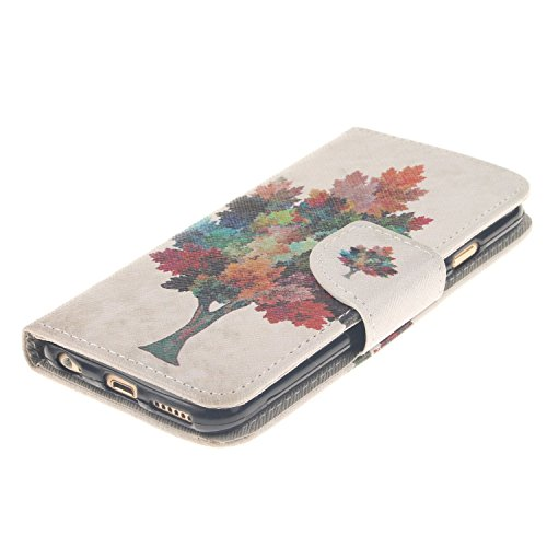 iPhone 6S Plus Hülle,iPhone 6 Plus Hülle, iPhone 6 Plus/ 6S Plus Hülle Ledertasche Brieftasche handyhülle im BookStyle, SainCat PU Leder Wallet Case Folio Schutzhülle Gemalt Muster Hülle Bumper Handyt Farbige Bäume