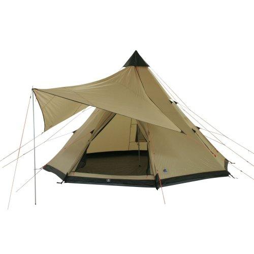 10T Campingzelt Shoshone 500 wasserdichtes XXL Tipi Zelt 5 - 10 Mann Indianerzelt Ø 5m + Sonnensegel