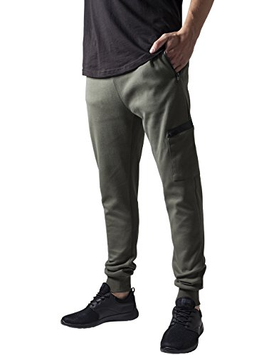 Urban Classics Athletic Interlock Sweatpants, Pantalon Homme Vert - Grün (Olive 176)