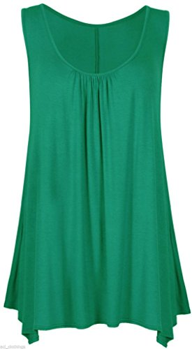 fashionchic Donna Hanky orlo tinta unita multicolore Flared Swing floreale senza maniche Scoop Neck Vest Canotta Abito Plus Size 8–26 Jade Green