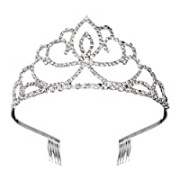ihen-Tech Wedding Prom Crown Tiara Rhinestone Decorated Bride Tiara Hair Barrettes Hairband Hair Clip Hair Loop Veil (Sliver)