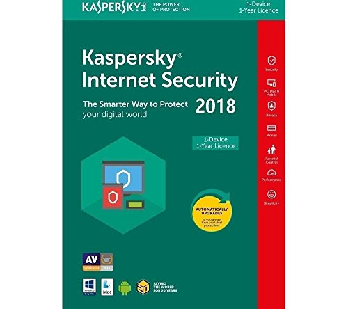 Kaspersky Internet Security 2018 | 1 Year/PC | New User Only | Instant Digital Delivery - No Media