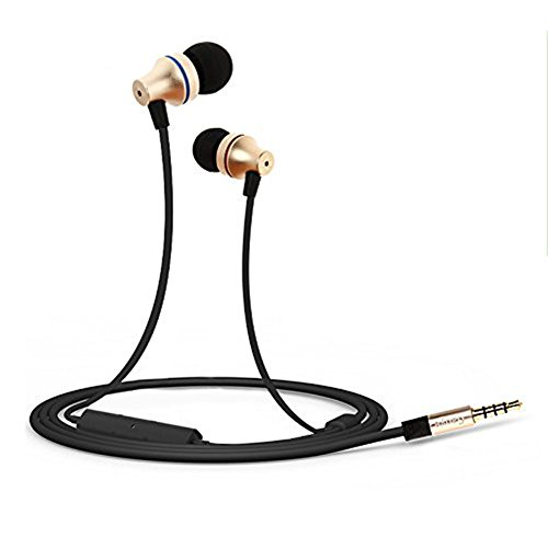 In-Ear Cuffie auricolari, Gaoye G1 3.5 mm Jack HD Stereo Wired auricolari con microfono dorato rumore cancellazione Sweatproof cuffie auricolari Stereo 1.2M (G1)