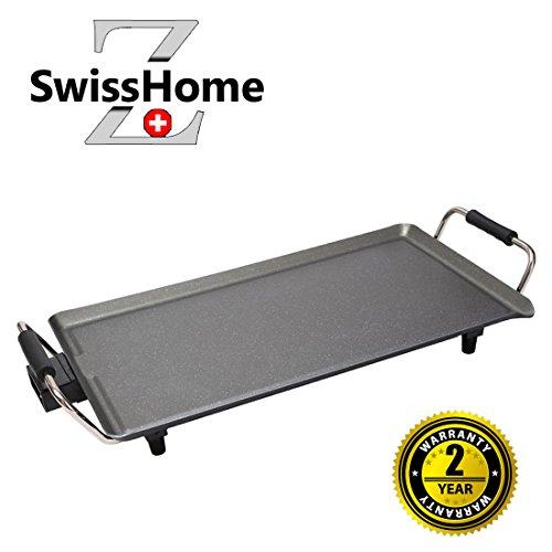 Swiss home grill! piastra elettrica con rivestimento in pietra lavica da 1800w termostato regolabile - bistecchiera griglia bbq barbecue barbeque elettrico teppanyaki multiuso tavolo 6629