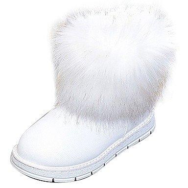 Rtry Femmes Chaussures Pu Hiver Confort Mode Bottes Bottes Bout Rond Mi-veau Bottes Pour Casual Blanc Noir Us6.5-7 / Eu37 / Uk4.5-5 / Cn37